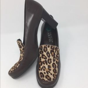 Leopard print and leather stacked block heel